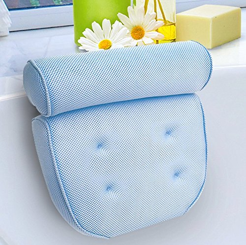 Kleeger Non Slip Home Spa Jacuzzi Bath Pillow With Back And Neck Support. Anti-Mold/Mildew, Waterproof, With Built In Suction Cups, Extra Padding For Ultimate Relaxation Experience