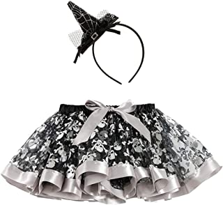 Girls Halloween Spider Web Tutu Ballet Skirt with Witch Headband Costume Party
