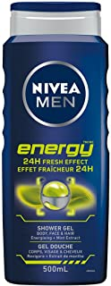 NIVEA MEN Energy Shower Gel (500mL), 3 in 1 Body Wash, Liquid Soap with Invigorating Mint Extract Provides 24H Refreshing ...