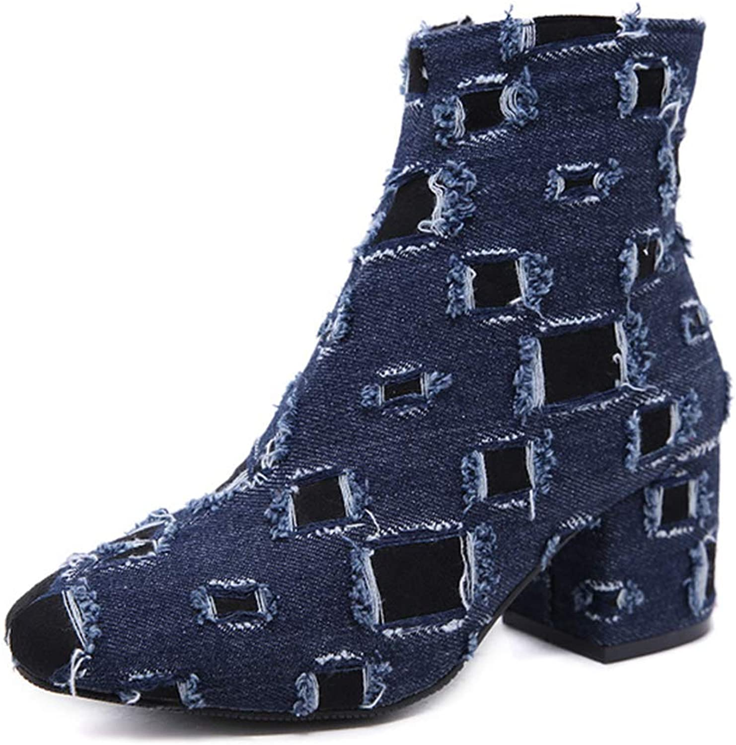Zarbrina Womens Chunky Block Heels Ankle Boots Fashion Sexy Pointed Toe Short Plush Zipper Up Mid Calf Winter Dress Party shoes