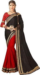أحمر وأسود مصمم للنساء الهندية أزياء بوليوود نمط يتوهم العرقية ارتداء جميل ساري 6222