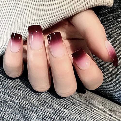 Bohend kurz Falsch Nägel Oval Chic Glänzend Farbverlauf Voll Cover 24Stücke FALSE Nägel Für Frauen Und Mädchen