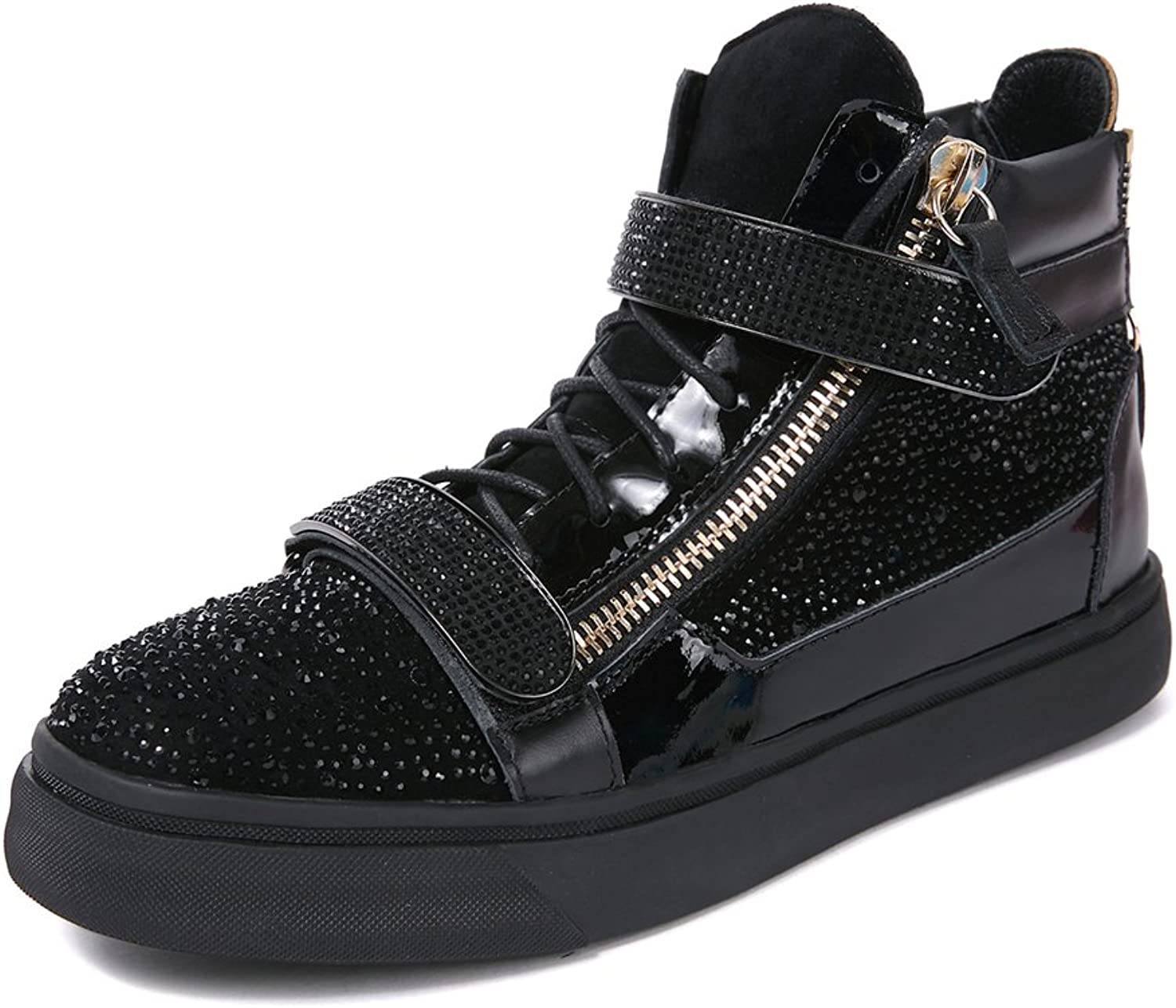 F.N.JACK Fashion shoes High-Top Sneaker Black Glittering Crystals Suede & Shearling Double-Zip