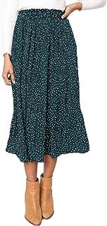 Exlura Womens High Waist Polka Dot Pleated Skirt Midi...