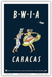 Caracas, Venezuela - British West Indies Airways BWIA (Bee-Wee) - Vintage Airline Travel Poster by Dick Negus & Philip Sharland c.1950s - Master Art Print - 12in x 18in