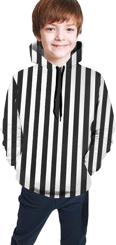 Save money Kimisoy Black and White Sale price Stripe Kids Comfy Sweatshi Hooded Hoodie