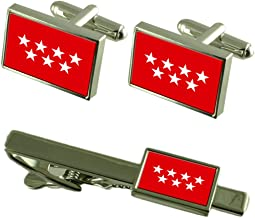 Select Gifts Madrid Flag Cufflinks Tie Clip Matching Box Gift Set