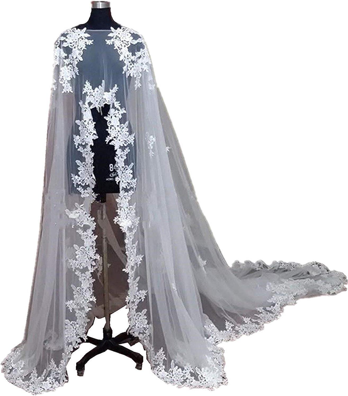 EllieHouse Women's Long Tulle Bridal Cape Wedding Veil Cloak T08
