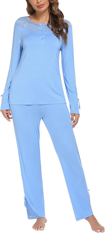 Ekouaer Women's Pajamas Set Button Down Tops and Long Pants Soft Sleepwear Pj Lounge Sets S-XXL