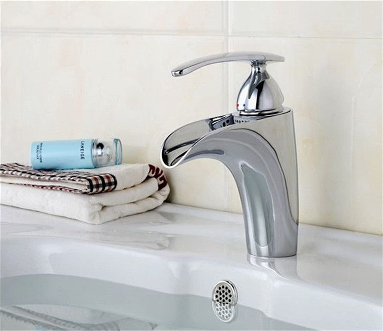 Lpophy Bathroom Sink Mixer Taps Faucet Bath Waterfall Cold and Hot Water Tap for Washroom Bathroom and Kitchen Electroplating Waterfall Hot and Cold