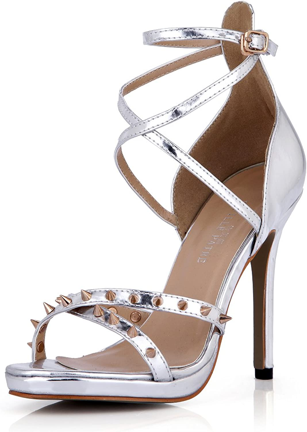 DolphinGirl Women Fashion Silver Rivet Open Toe Sandals High Heels with Ankle Strap Buckle Dress Pumps Stiletto shoes SM00098