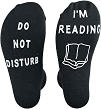 'Do Not Disturb I'm Reading' Funny Crew socks - Great Gift For Those People Who Love Books!