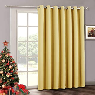 RYB HOME Extra Large Curtains - Thermal Insulated Drapes for Bedroom Window Decor, Grommet Curtains 84 inches Long for Sliding Glass Door Sunroom Living Room Vertical Blinds, 100 x 84, Mustard Yellow