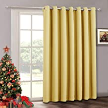 RYB HOME Farmhouse Curtains Portable - Heavy Duty Thermal Window Curtains for Bedroom Sitting Room Hall Dining School Dorm, Vertical Blinds for Sliding Glass Door, 100 x 108 inch, Mustard Yellow