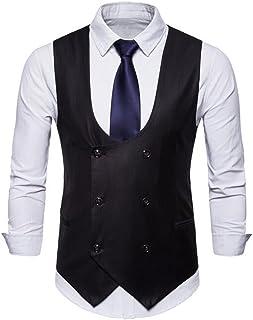 FSSE Men Solid Slim Fit Business U Collar Double Breasted Dress Suit Vest Waistcoat