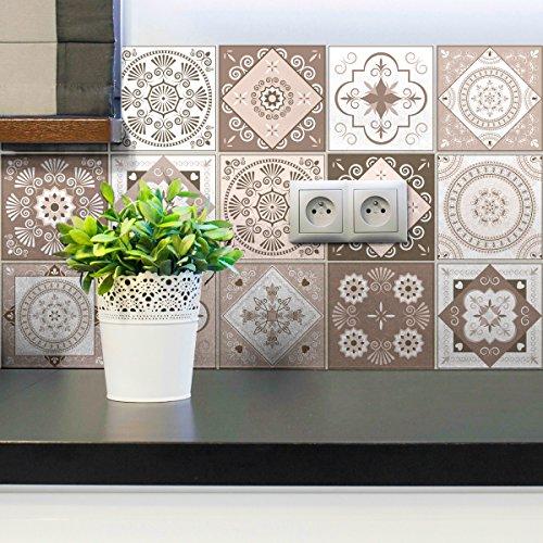 15 Wandsticker Küche – Wandsticker – Zementfliesen selbstklebend – Wandsticker Azulejos – Fliesenaufkleber für Badezimmer 10 x 10 cm – 15 Stück selbstklebende Zementfliesen
