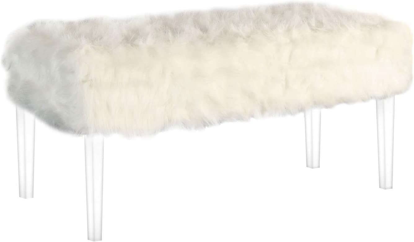 ORE International Cheap SALE Start Beverly Faux Fur Storage Daily bargain sale Bench Gh with Acrylic