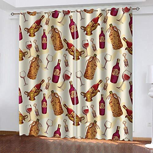 ZDPLL 3D Cortinas De Impresión Digital Retro y Copa de Vino De Estar Cocina Dormitorio Cortinas Opacas,Cortinas Perforadas 234x138cm