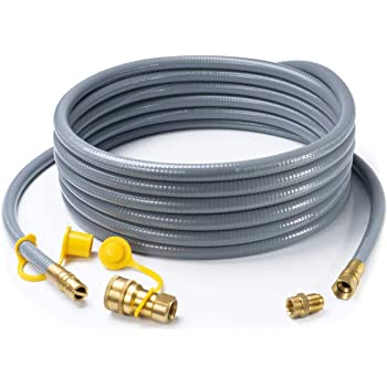 "GASPRO 24 Feet 1/2 ID Natural Gas Hose,Quick Connect Disconnect with 3/8"" Female by 1/2"" Male for Grill,Generator,Patio Heater,Pizza Oven,etc"