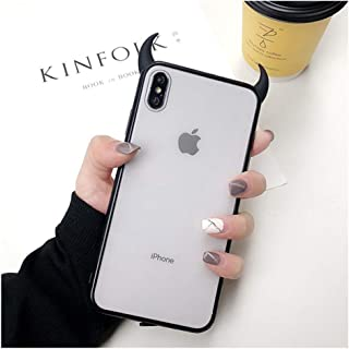 3D Luxury Devil Horns Phone Case for iPhone 6 6Plus 6S 6Plus 7 7Plus 8 8Plus X Xr Xs Max Cute Black Red Acrylic Back Cover,for iPhone 11 Pro,Black