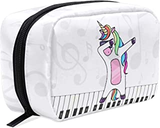 EELa Dabbing Unicorn Music Background Make Up Bag Cosmetics Travel Organizer Twill Pouch Case for Makeup Utensils Toiletry Travel bag
