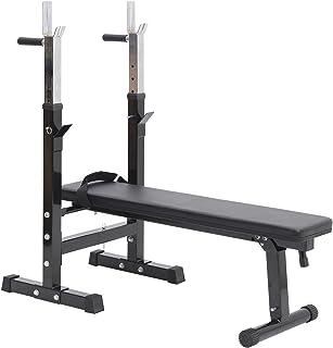 comprar comparacion HOMCOM Banco de Pesas Plegable Bancos Musculacion Entrenamiento Maquina Gimnasio Gym Altura Ajustable Carga 150KG