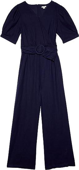 Wrap Front Jumpsuit w/ Belt (Big Kids)