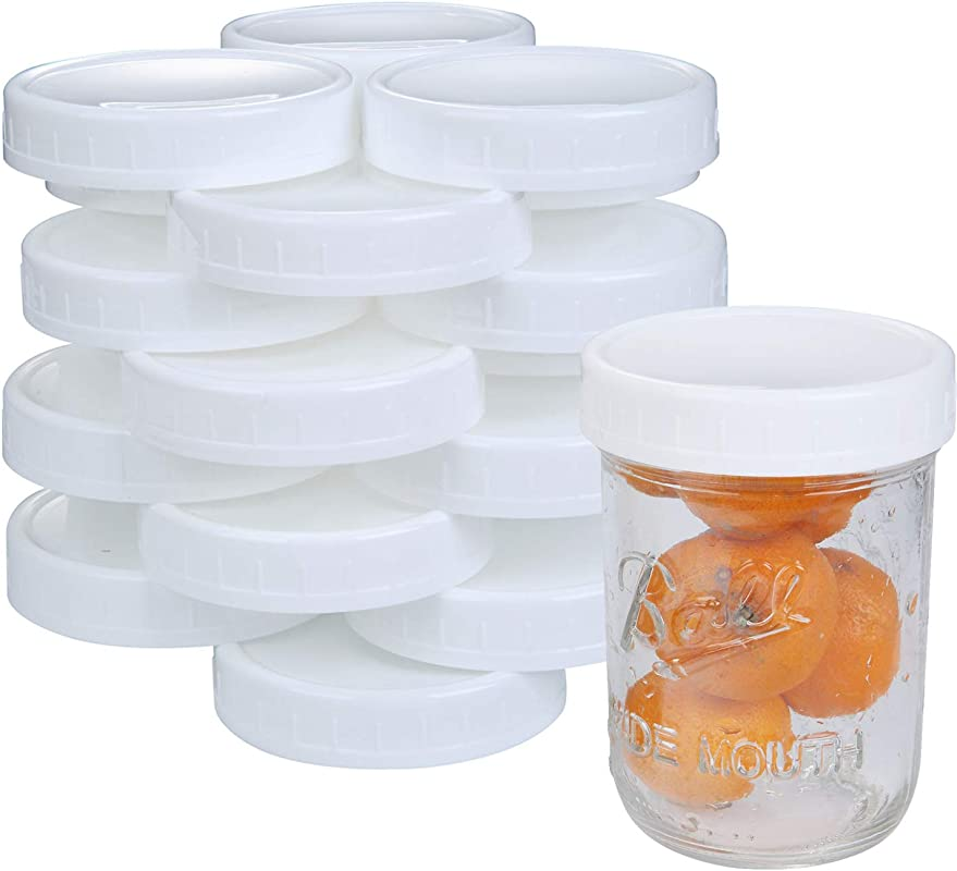 24 Pack Wide Mouth Mason Jar Lids Canning Jars Plastic Lids Reusable And Leak Proof Storage Caps BPA Free Dia 86mm White