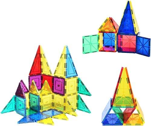 WUYEA 48 Stück Satz Magnet Constructor Bausteine  ranSpaßente Fliesen Magnetische Lernziegelsteine   gogisch für Kinder