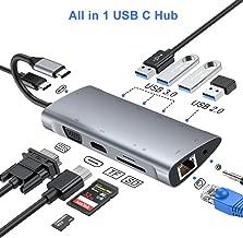 FLYLAND Hub USB C, Adaptador Tipo C Hub con 1080P VGA, Conector de Audio de 3.5 mm, 4K HDMI, Ethernet RJ45, 4 Puertos USB 3.0/2.0, Puerto USB-C PD, Hub Lector de Tarjetas SD/TF para Macbook y más