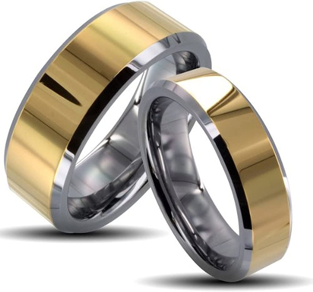 His Her's 8MM latest 6MM Two A surprise price is realized Tone Gold T Shiny Edges Beveled Center