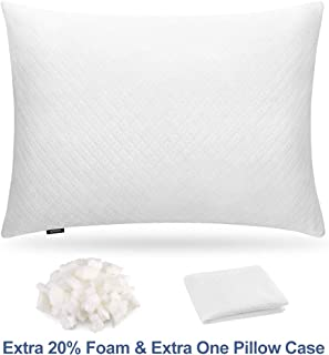 Super White Adjustable Shredded Memory Foam Pillow for Sleeping, Hypoallergenic Bamboo Pillow Neck Support for Back, Stomach, Side Sleeper, 2 Washable Breathable Covers(Standard)