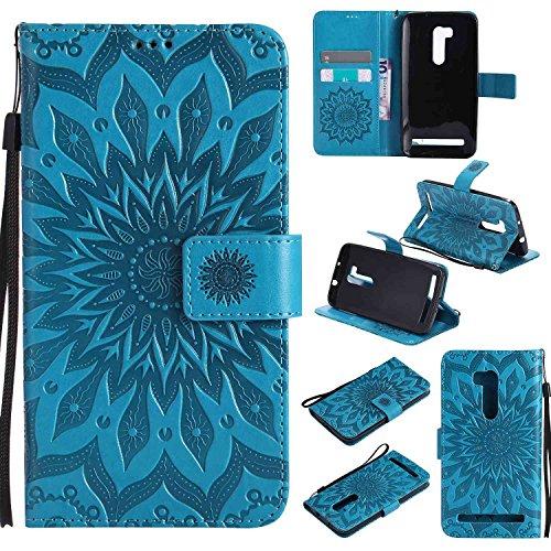 pinlu PU Leder Tasche Etui Schutzhülle für Wiko Pulp 3G (5 Zoll) Lederhülle Schale Flip Cover Tasche mit Standfunktion Sonnenblume Muster Hülle (Blau)