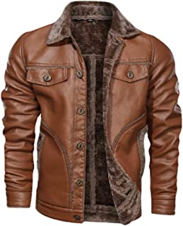 Men Faux Fur Lined Faux-Leather PU Thick Outwear Single Breasted Jacket