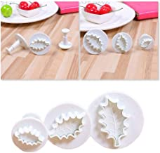 SharpointHome 3 Pieces/Set Diy Holly Leaf Plunger Cutters Fondant Cookies Mold Sugarcraft Cake Decoration
