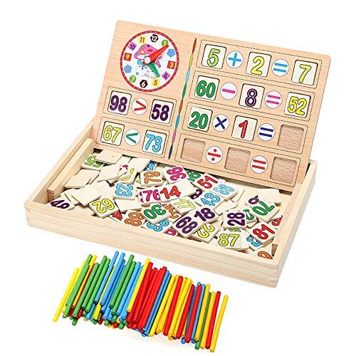 VANKER Jouets en Bois éducatifs Bébé Montessori Maths Enfants Puzzle Bloc Horloge Bâton Champignon