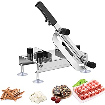 Manual Frozen Meat Slicer Stainless Steel Herb Ginseng Cutter Cleaver Food Slicer Meat Slicing Machine for Cheese Bacon Beef Mutton Roll Hot Pot Shabu Kitchen Home Use