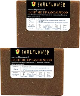 Sandalwood Scrub Handmade Soap with Coconut Oil by Soulflower,(5.3Oz x 2 bars) 100% Natural, Organic, Vegan & Coldprocessed, USFDA approved, SLS Free - Brightening & Exfoliating - Indian Formulation