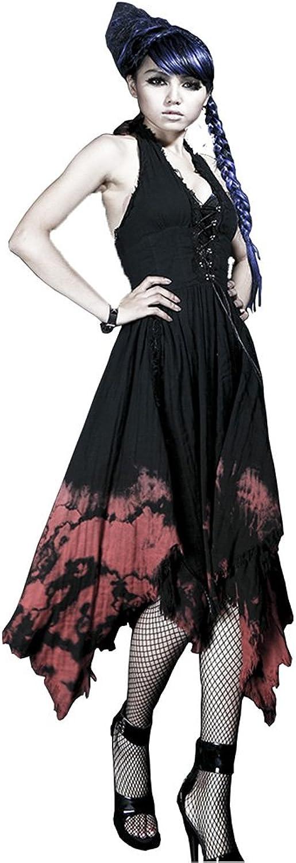 PUNK Sexy Women Long Dress Gothic V Neck Halter Top Evening Backless Dresses