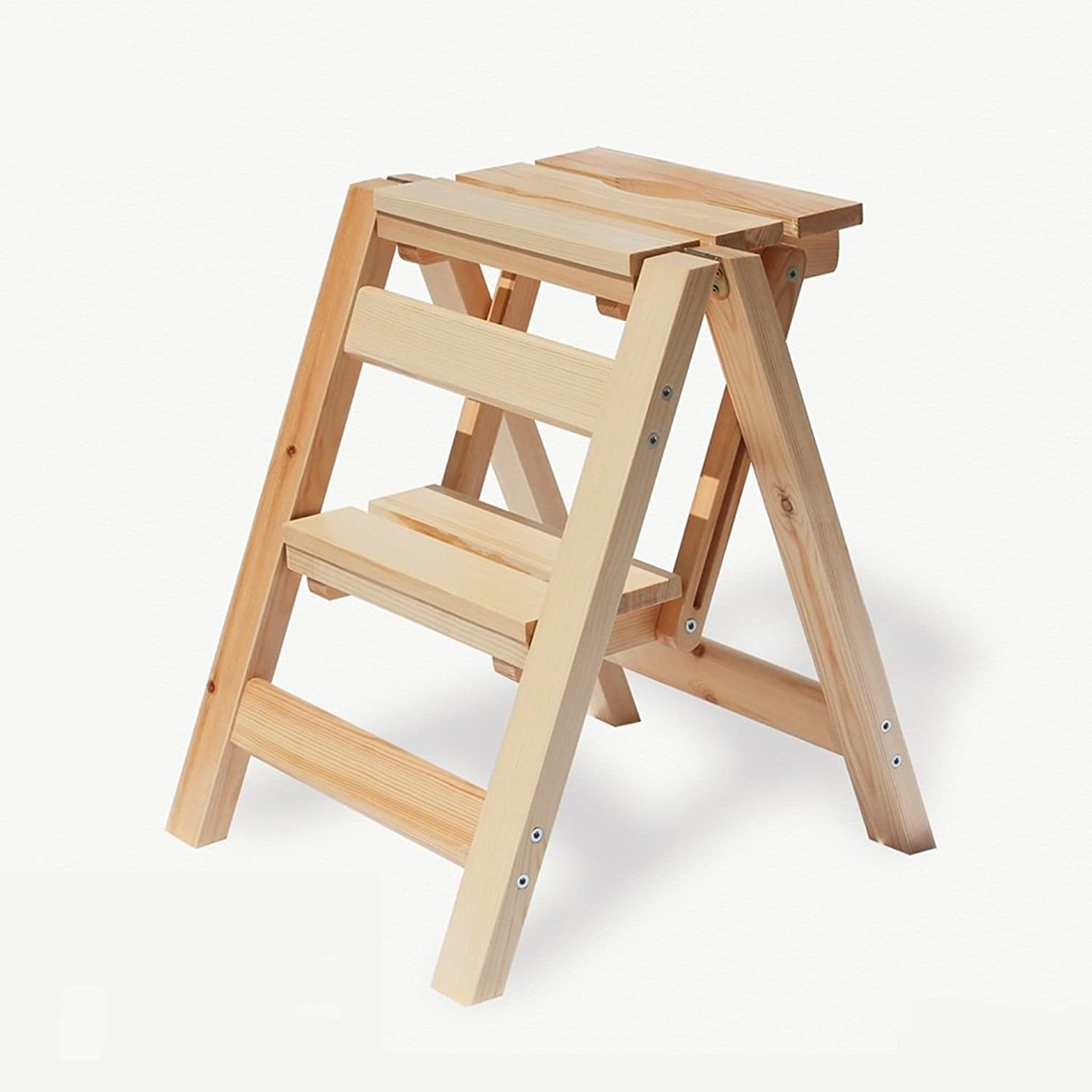 Solid Wood Step Stool Household Multi-Functional Solid Wood Ladder Foldable Two-Step Ladder Portable Small Wooden Ladder 39  44  47CM 2-Step Stool