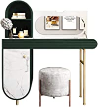 Luxury Green and White Dressing Table Set with flip Mirror and 1 Drawer, 3 Compartment stools, Jewelry Storage for Bedroom...