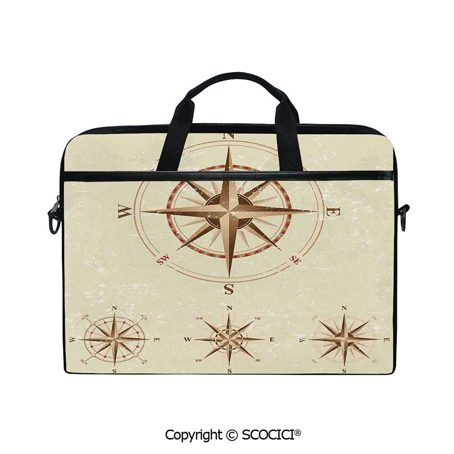 Durable Waterproof Printed Laptop Shoulderr Bag Four Different Compasses in Retro Colors Discovery Equipment Where Marine Computer Briefcases for 15 inch