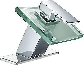 Greenspring Modern Deck Mount One Handle Waterfall Lavatory Bathroom Faucet Glass Spout Single Hole Plumbing Fixtures Unique Designer Chrome