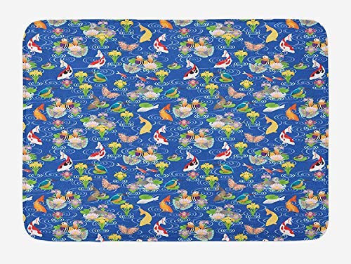 PdGAmats Japanese Bath Mat, Traditional Pattern with Koi Pond Birds Various Flowers Butterflies Asian Nature 23.6 W X 15.7W inches