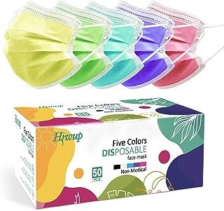 ماسک صورت یکبار مصرف HIWUP ماسک صورت چند رنگ برای خانم ها و آقایان 3 لایه مناسب برای بزرگسالان و نوجوانان بسته تابستانی رنگی 50 تایی