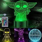 3D Illusion Star Wars Night Light para niños, Orenic 4 patrones y lámpara de cambio de 16 colores con Smart Touch & Remote para decoración del hogar del dormitorio, Star Wars Regalos para niños niñas