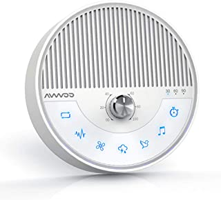 White Noise Machine - AVWOO Nature Sounds Sleep Machine Non-Looping Sound Therapy Machine Sleep Aid with Built-in Battery, Auto Timer and Single Cycle Function for Babies, Kids and Adults