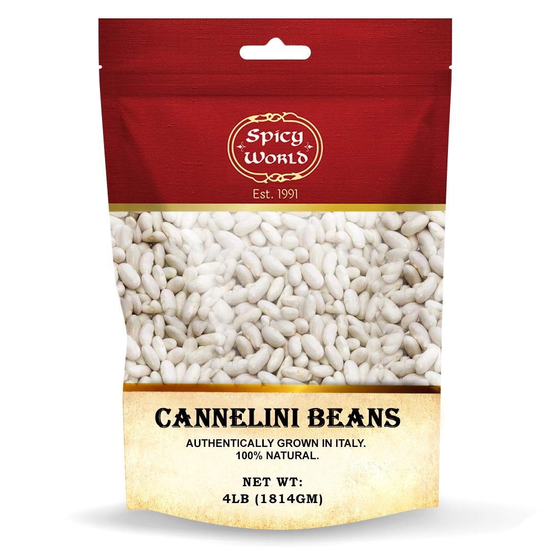 Spicy World Cannelini Beans 4 LB - From Italy - Dried White Medi