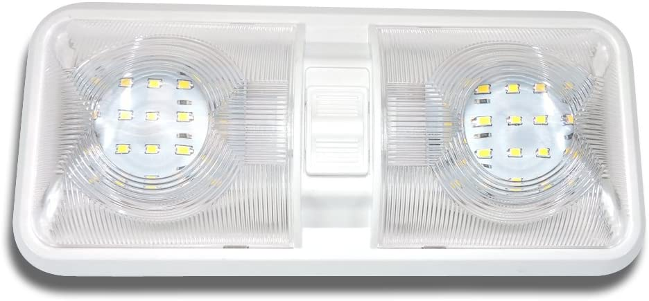 Leisure LED Under blast sales RV Ceiling Double Dome San Diego Mall Off with Fixture Light ON
