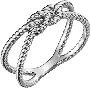 FB Jewels 14k White Gold Rope Knot Ring